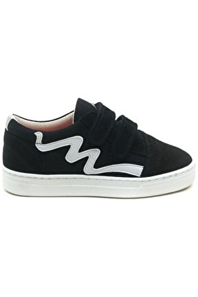 Unısex Çocuk Siyah Deri Cırtlı Casual Ayakkabı