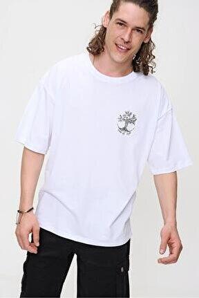 Erkek Beyaz Bisiklet Yaka Tree Of Life Baskılı Oversize T-shirt
