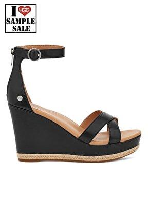 Siyah W Ezrah Deri Dolgu Topuklu Ayakkabı