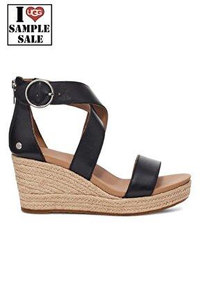 Kadın Siyah W Hylda Black Leather Dolgu Topuk Sandalet
