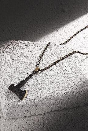 Erkek Balta Figürlü Zirkon Taşlı Mat Siyah Renk Kolye Frj30430-530-b2