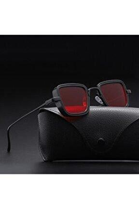 Steampunk Metal Çerçeveli Unisex Güneş Gözlüğü Kırmızı