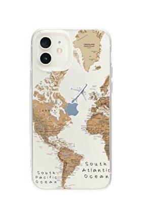 Iphone 12  Uyumlu Dünya Harita Desenli Premium Şeffaf Silikon Kılıf