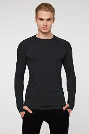Maine Parmak Çıkışlı Uzun Kol Sporcu T-shirt Siyah