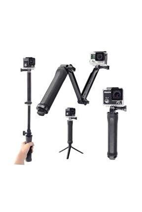 Gopro Ve Aksiyon Kamera 3 Way Çok Yönlü Monopod Tripod