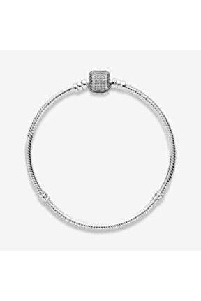 Pandora Uyumlu Taşlı Silindir Kilit Gümüş Bileklik