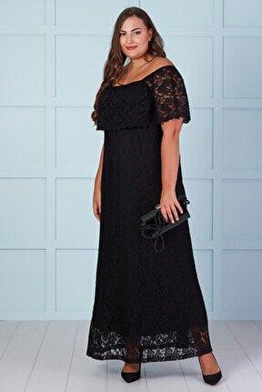 Kadın Siyah Dantel Madonna Yaka Uzun Elbise