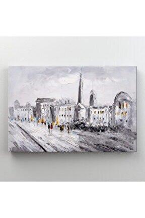 Beyaz Şehir Doğa Manzarası Dekoratif Kanvas Tablo