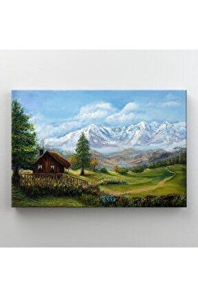Çiftlik Evi Doğa Manzarası Dekoratif Kanvas Tablo
