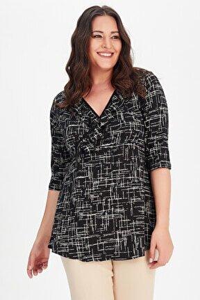 Kadın Siyah Kruvaze Fırfır Yaka Truvakar Kol Desenli Bluz