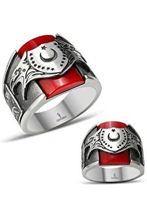 Kırmızı Taşlı Ay Yıldız Kartal Desenli Gümüş Yüzük
