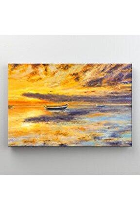Soyut Günbatımı Doğa Manzarası Dekoratif Kanvas Tablo
