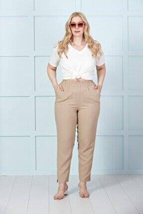 Kadın Kahverengi Beli Lastikli Keten Pantolon