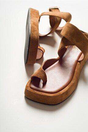 Kadın Taba Suet Sandalet