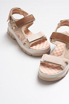 Kadın Bej Leopar Sandalet 4740