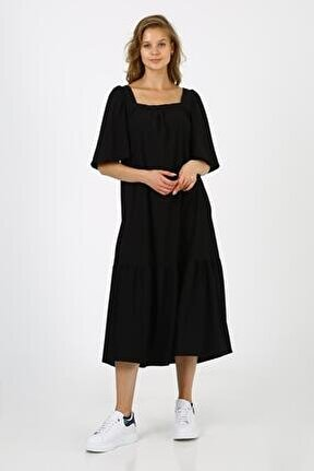 Kadın Siyah Kare Yaka Elbise
