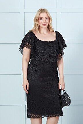 Kadın Büyük Beden Siyah Dantel Madonna Yaka Kalem Elbise
