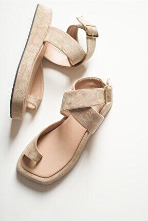 Kadın Bej Süet Sandalet
