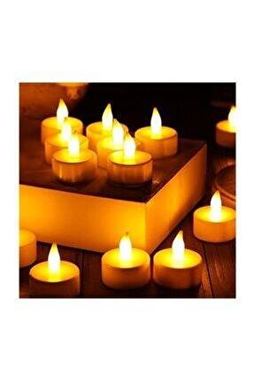6 Adet Led Pilli Tealight Mum Sarı Işık -4cm