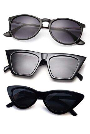 8045set10 Vintage Büyük Cateye-küçük Cateye Model Ve Erica Model 3'lü Kadın Gözlük Seti