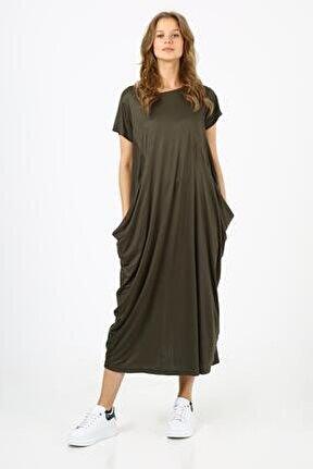 Kadın Haki Cepli Salaş Elbise