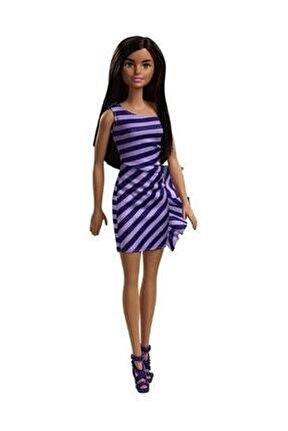 Pırıltı Barbie Bebekler - Mor Çizgili Elbiseli FXL69-T7580