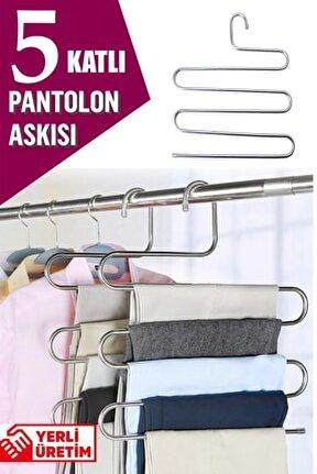 5 Katlı Metal Pantolon Eşarp Gardrop Askısı