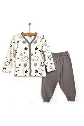 Erkek Bebek Gri Desenli Çıtçıtlı Pijama Takımı