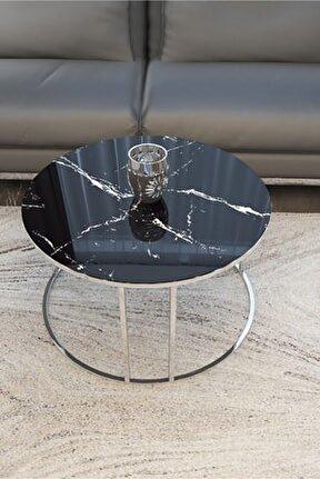 Gümüş Orta Sehpa (siyah Mermer Desenli Kırılmaz Cam)