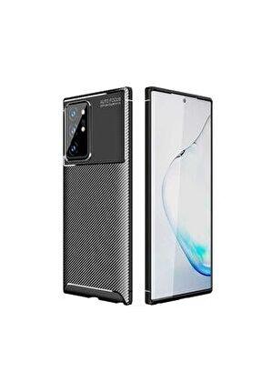 Samsung Galaxy Note 20 Ultra Kılıf 3d Görünümlü Kamera Koruma Yükseltili Karbon Silikon Siyah