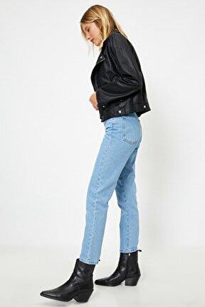 Kadın Mavi Pamuklu Yüksek Bel Mom Jeans 1KAK47065MD