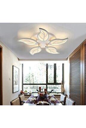 Yaprak Desenli Concept Ürün Krom Kademeli 3 Renk Plafonyer Power Led Avize