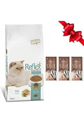 Somonlu Kısırlaştırılmış Kedi Maması 15 Kg + 3 Adet Somonlu Stick Ödül