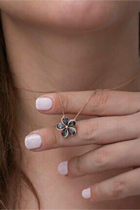 925 Ayar Mistik Topaz Taşlı Çiçek Kadın Gümüş Kolye