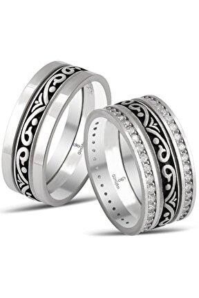 Özel Tasarım Sultan Modeli Gümüş Çift Alyans
