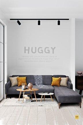 Huggy Köşe Koltuk Takımı Gri - Mekanizmalı, Yataklı, Ahşap Ayak