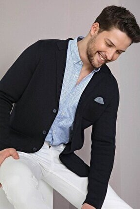 Erkek Lacivert Üç Düğmeli Ince Pamuk Triko Ceket