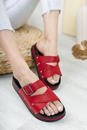 Kadın Kırmızı Dolgu Topuk Terlik