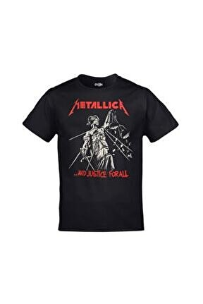 Unisex Siyah Metallica And Justice For All Baskılı Tshirt
