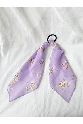 Lila Çiçekli Lastik Tokalı Fular
