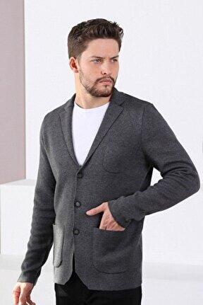 Erkek Antrasit Üç Düğmeli Ince Pamuk Triko Ceket