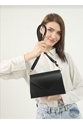 Kadın Siyah Zarf Model Mıknatıs Kapaklı Ayarlanabilir Omuz Askılı Çift Bölmeli Çanta