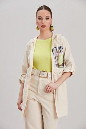Kadın Ekru Kapüşonlu Kadın Baskılı Beli Büzgülü Oversize Ceket YL-CE99925