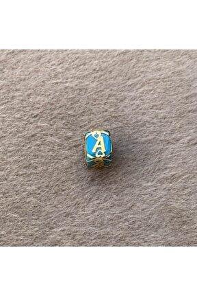 14 Ayar Altın A Harfli Altın Kafesli Mavi Boncuk