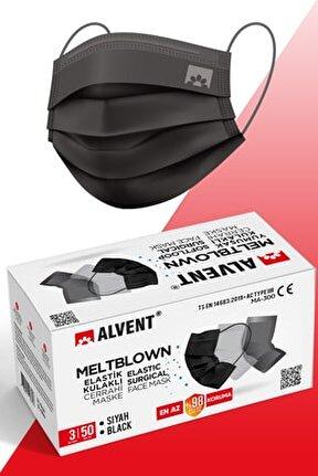 Siyah Meltblown Maske 50 Adet - Elastik Kulaklı - En Az %98 Koruma - Sertifikalı -tıp2r