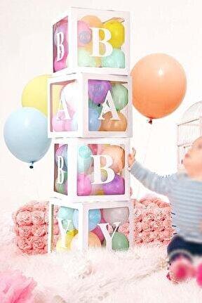33 Parça Baby Yazılı Şeffaf Beyaz Kutu Balon Seti, Baby Balon Kutusu Bebek Çocuk Doğum Günü Kutlama