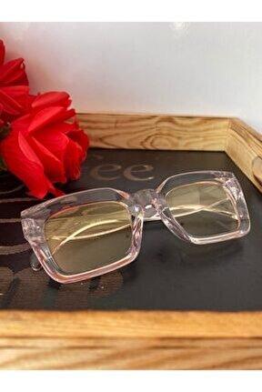 Mia Kalın Çerçeveli Tasarım Gözlük Şeffaf Çerçeve Sarı Cam