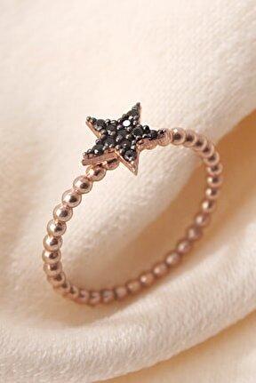 Siyah Zirkon Taşlı Yıldız Eklem Yüzüğü