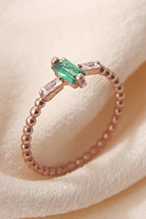Yeşil Baget Taşlı Gümüş Eklem Yüzüğü