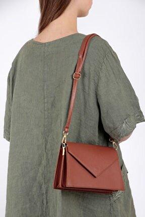 Kadın Taba Zarf Model Mıknatıs Kapaklı Ayarlanabilir Omuz Askılı Çift Bölmeli Çanta